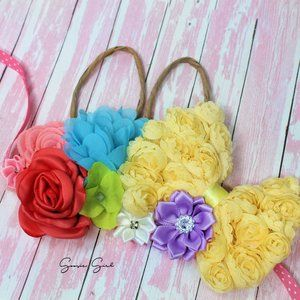 Bunny Ears Easter Flower Crown Tieback Headband
